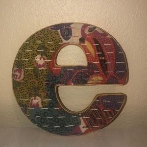 Anthropologie fabric letter e wall hang